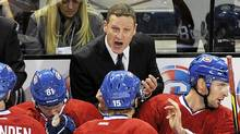 Montreal Canadiens interim head coach Randy Cunneyworth talks with players during first period of an NHL hockey game against the New Jersey Devils in Montreal on Saturday, December 17, 2011. (Graham Hughes/The Canadian Press/Graham Hughes/The Canadian Press)