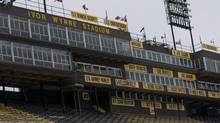 The names of former Tiger-Cats players are shown at Ivor Wynne Stadium in Hamilton, Ont., Tuesday, January 11, 2011. Hamilton Mayor Bob Bratina and Hamilton Tiger-Cats owner Bob Young have ended their standoff over a new stadium.The two have announced a proposal for a renovated stadium to be constructed where Ivor Wynne currently stands. (John Rennison)