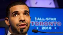 Rapper Drake speaks during an NBA and Toronto Raptors press conference at the ACC in Toronto on Sept. 30, 2013. (Peter Power/The Globe and Mail)