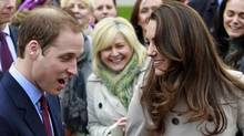 Prince William and Kate Middleton take part in a cancer fundraising event in in Belfast, Northern Ireland, on March 8, 2011. (Peter Morrison/AP)