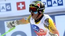 Canada's Jan Hudec celebrates in the finish area after winning an alpine ski, men's World Cup downhill, in Chamonix, France, Saturday, Feb. 4, 2012. (Mario Curti/AP)
