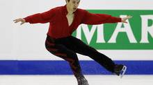 Patrick Chan of Canada performs during his Men's Free skating at the ISU 2012 World Figure Skating Championships in Nice, southern France, Saturday, March 31, 2012. (Francois Mori/AP)
