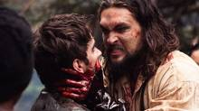 Michael Smyth (Landon Liboiron) and Declan Harp (Jason Momoa) in Frontier, the six-episode, one-hour drama from Discovery Canada. (Hand-out/Discovery)