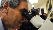 Liberal Leader Michael Ignatieff peers through a microscope at a Kingston lab during a campaign stop on April 11, 2011. (Nathan Denette/The Canadian Press/Nathan Denette/The Canadian Press)