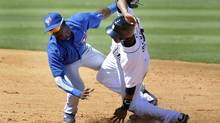 Detroit Tigers runner Austin Jackson is tagged out trying to steal second base by Toronto Blue Jays shortstop Adeiny Hechavarria during the third inning of their MLB Grapefruit League baseball game in Lakeland Florida, March 5, 2012. (Mike Cassese/Reuters/Mike Cassese/Reuters)