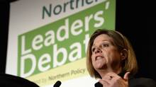Ontario NDP Leader Andrea Horwath speaks during the northern leaders' debate in Thunder Bay on Monday, May 26, 2014. (Frank Gunn/THE CANADIAN PRESS)