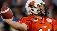 B.C. Lions' Travis Lulay throws against the Calgary Stampeders during the first half of a CFL football game in Vancouver, B.C., on Friday July 8, 2011. THE CANADIAN PRESS/Darryl Dyck (Darryl Dyck/CP)
