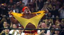 Hulk Hogan fires up the crowd between matches during WrestleMania 21 at the Staples Center in Los Angeles on Sunday, April 3, 2005. (CHRIS CARLSON/AP)