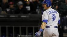 Toronto Blue Jays' J.P. Arencibia reacts to striking out against the Chicago White Sox (Andrew Nelles/AP)