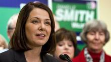 Wildrose party leader Danielle Smith makes a policy announcement in Okotoks, Alta., Tuesday, March 27, 2012. (Jeff McIntosh/The Canadian Press/Jeff McIntosh/The Canadian Press)