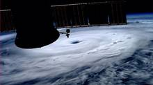 The eye of Hurricane Arthur is seen over the Atlantic in this photo from the International Space Station tweeted by European Space Agency astronaut Alexander Gerst on July 3, 2014. (ALEXANDER GERST/NASA/REUTERS)