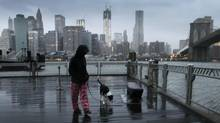 Vanessa Pumo walks her dog Bella as wind and rain from Hurricane Sandy arrive, Monday, Oct. 29, 2012 in Brooklyn, N.Y. (Mark Lennihan/AP)