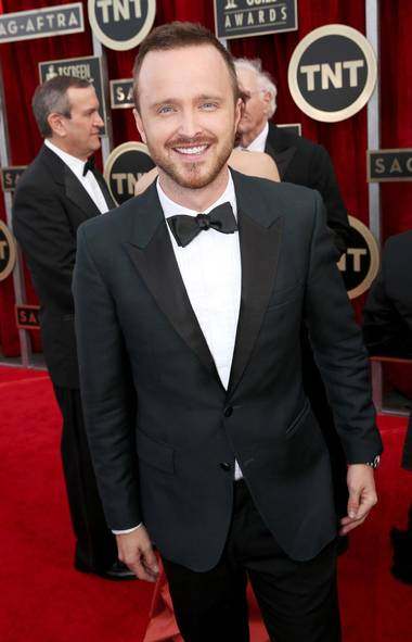 "Actor Aaron Paul of ""Breaking Bad"" arrives at the 20th annual Screen Actors Guild Awards in Los Angeles on Jan. 18. (Matt Sayles/Associated Press)"