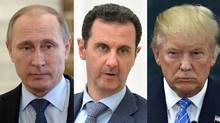 """President Bashar al-Assad of Syria may be right to claim U.S. president-elect Donald Trump as a """"natural ally."""" Mr. al-Assad's fortunes certainly depend on Russian President Vladimir Putin, and Mr. Trump and Mr. Putin appear to have a rapport, even if it is largely based on a shared taste for bullying and bluster. (Getty Images)"""