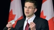 Minister of State (Democratic Reform) Pierre Poilievre speaks with the media following a decision by the Supreme Court on the Senate in Ottawa on Friday, April 25, 2014. THE CANADIAN PRESS/Adrian Wyld (Adrian Wyld/THE CANADIAN PRESS)
