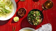Tender-greens salad with crispy shallots and roasted peanuts (Andrew Grinton For The Globe and Mail)