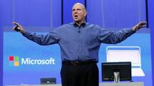 Microsoft CEO Steve Ballmer gestures during his keynote address at the Microsoft 'Build' conference in San Francisco in this file photo. (Robert Galbraith/Reuters)