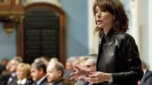 Natural Resources Minister Nathalie Normandeau responds to questions over the Old Harry gas and petroleum field on Oct. 21, 2010 in the Quebec National Assembly. (Jacques Boissinot/THE CANADIAN PRESS)