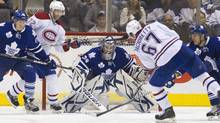 The Montreal Canadiens' Max Pacioretty scores on Toronto Maple Leafs goalie James Reimer in Toronto Feb. 11, 2012. (Fred Thornhill/Reuters/Fred Thornhill/Reuters)