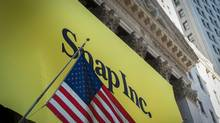 A banner for Snap Inc. IPO is seen outside at the New York Stock Exchange on March 2, 2017 in New York. (BRYAN R. SMITH/AFP/Getty Images)