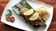 Ontario rainbow trout whole-steamed in banana leaf seen here at Avarind restaurant (Tim Fraser for The Globe and Mail/Tim Fraser for The Globe and Mail)