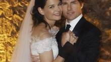 In this Nov. 18, 2006 file photo released by Rogers and Cowan, actor Tom Cruise and actress Katie Holmes pose in their wedding attire at the 15th-century Odescalchi Castle overlooking Lake Bracciano outside of Rome. Cruise and Homes are calling it quits after five years of marriage. Holmes' attorney Jonathan Wolfe said Friday June 29, 2012 that the couple is divorcing, but called it a private matter for the family. (File / Robert Evans/AP Photo)