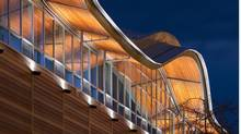 Signature curved roofline made from pine-beetle-killed wood at Thompson Rivers University in Kamloops. (Tom Arban)