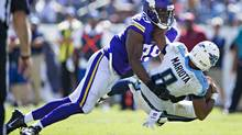 Danielle Hunter of the Minnesota Vikings sacks Marcus Mariota of the Tennessee Titans during a game on Sept. 11, 2011. (Wesley Hitt/Getty Images)