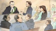 Marc Emery, foreground left, listens as defence lawyer, Jack Lloyd addresses the Justice of the Peace as Jodie Emery, centre right to left, Britney Guerra and Erin Goodwin look on in this courtroom sketch. (Alexandra Newbould/THE CANADIAN PRESS)