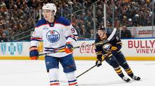 Connor McDavid  of the Edmonton Oilers skates against Jack Eichel of the Buffalo Sabres at First Niagara Center on March 1, 2016 in Buffalo, New York. (Jen Fuller/Getty Images)
