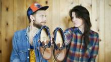 Joshua Blodans with his girlfriend and business partner, Julia Vagelatos. Their Whistler, B.C.-based business, Love Jules Leathers, sells handcrafted leather goods online on Etsy. (Love Jules Leathers)