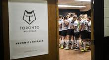 Toronto Wolfpack players huddle in the locker room before going out for the second half against the Barrow Raiders during their Kingstone Press League 1 rugby match against at Lamport Stadium in Toronto, Sunday May 21, 2017. (Mark Blinch/Globe and Mail)