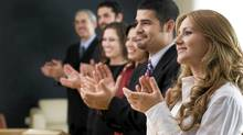 File #: 6684238 Business group congratulating. Business people clapping. Credit: Aldo Murillo / iStockphoto (Royalty-Free) Keywords: Business, Meeting, Presentation, Success, People, Business Person, Leadership, Office, Applauding, Team (Aldo Murillo/iStockphoto)