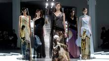 Rodarte designers Kate and Laura Mulleavy's unveil gowns incorporating images from the Star Wars films. (ERIC THAYER/REUTERS)