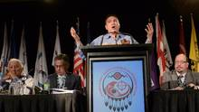 Assembly of First Nations national Chief Perry Bellegarde gives the keynote speech at the AFN's annual conference in Montreal on Tuesday, July 7, 2015. (Ryan Remiorz/THE CANADIAN PRESS)