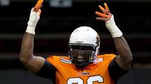 B.C. Lions' Khalif Mitchell has been suspended two games after he hyperextended the arm of Edmonton offensive lineman Simeon Rottier on Friday night. (DARRYL DYCK/THE CANADIAN PRESS)