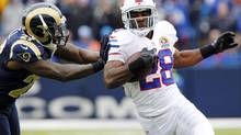 Buffalo Bills running back C.J. Spiller is expected to carry the load for the final three games, now that teammate Fred Jackson is out. (Bill Wippert/AP)
