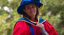 Canadian women's national soccer team captain Christine Sinclair looks on after receiving an honorary Doctor of Laws degree from Simon Fraser University during the fall convocation ceremony at the university in Burnaby, B.C., on Friday October 11, 2013. (DARRYL DYCK/THE CANADIAN PRESS)