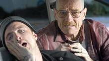 Bryan Cranston (left) in a scene from Breaking Bad