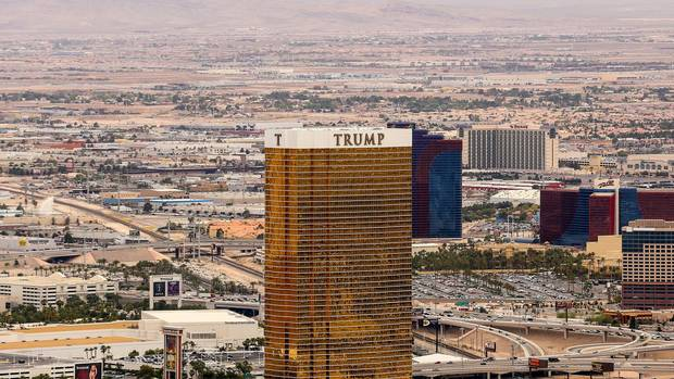 The Trump Hotel with the golden facade from above. Rio All Suite Hotel and Casino and The Orleans in the back.