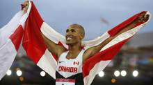 Damian Warner of Canada celebrates finishing in first place in the men's decathlon at the Commonwealth Games in Glasgow, Scotland, July 29, 2014. (JIM YOUNG/REUTERS)