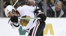 Brent Sopel as a member of the Stanley Cup winning Chicago Blackhawks (Danny Moloshok)