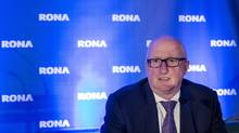 Robert Sawyer, president and CEO of Rona, gets ready for the company's annual general meeting Tuesday, May 12, 2015 in Boucherville, Que. (Paul Chiasson/THE CANADIAN PRESS)