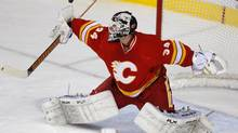 Calgary Flames goalie Miikka Kiprusoff makes a save against the Chicago Blackhawks during the second period of their NHL game in Calgary, Alberta, February 2, 2013. (TODD KOROL/REUTERS)
