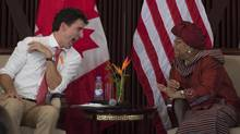 Canadian Prime Minister Justin Trudeau shares a laugh with Liberian President Ellen Johnson Sirleaf during a roundtable discussion on women's leadership, Thursday, November 24, 2016 in Monrovia, Liberia. Trudeau is flying to Madagascar today to head the Canadian delegation at the summit of the International Organization of la Francophonie over the weekend. (Adrian Wyld/THE CANADIAN PRESS)