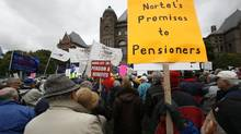 Nortel pensioners protest at Queen's Park in Toronto in 2009. Disabled Nortel pensioners have launched a lawsuit over cuts to their pensions. (Deborah Baic/THE GLOBE AND MAIL)