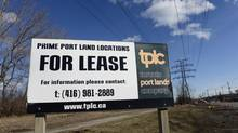 A large sign on the Don Roadway promoting land for lease in the port lands area of Toronto's waterfront on March 15, 2013. The GTA has just posted a record decline in sales of land for future residential developments. (Fred Lum/The Globe and Mail)