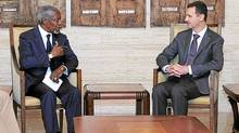 Syrian President Bashar Assad, right, meets with Kofi Annan, the U.N.-Arab League Joint Special Envoy for Syria, in Damascus, on Tuesday. (Associated Press/Associated Press)