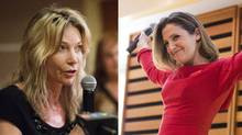 Linda McQuaig, left, and Chrystia Freeland are facing off in the Toronto Centre riding. (MICHELLE SIU/THE GLOBE AND MAIL)