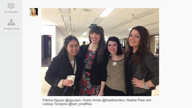 Patricia Nguyen @nguyepm, Kristin Archer @ihearthamilton, Heather Peter and Lindsay Tompkins @ham_smallfries